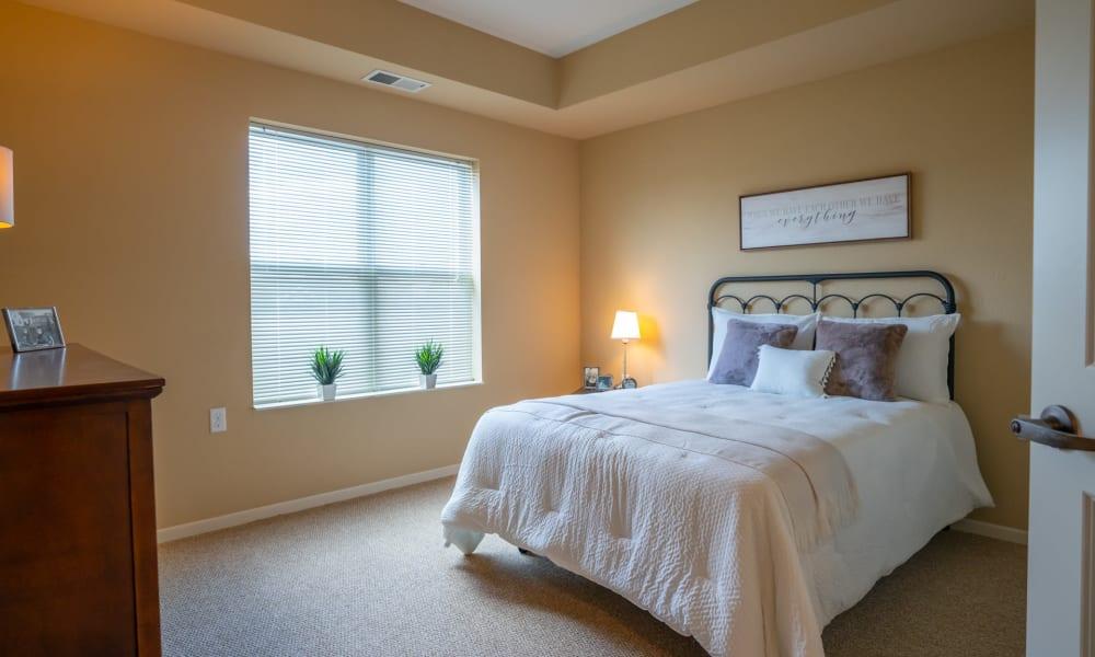 Bedroom in a senior apartment at York Gardens in Edina, Minnesota