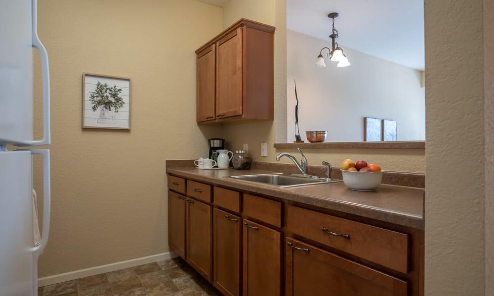 Full kitchen in the senior apartments at York Gardens in Edina, Minnesota