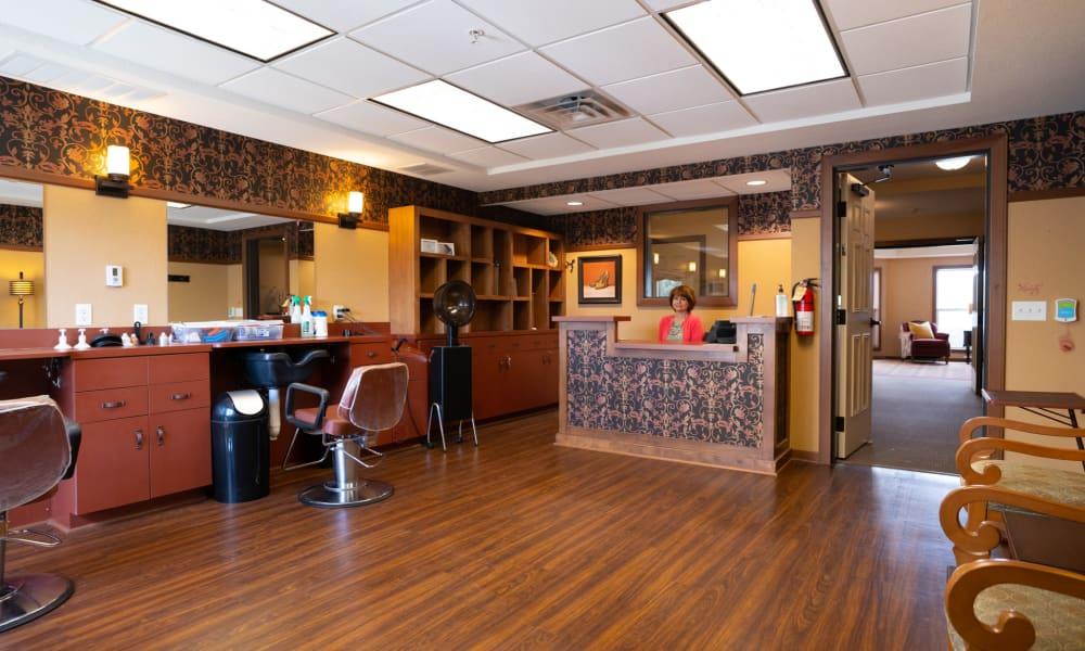 On-site barber shop with hardwood floors at York Gardens in Edina, Minnesota