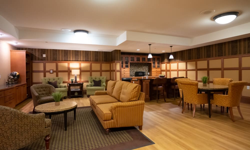 Cafe lounge with a serving bar and lots of seating at York Gardens in Edina, Minnesota