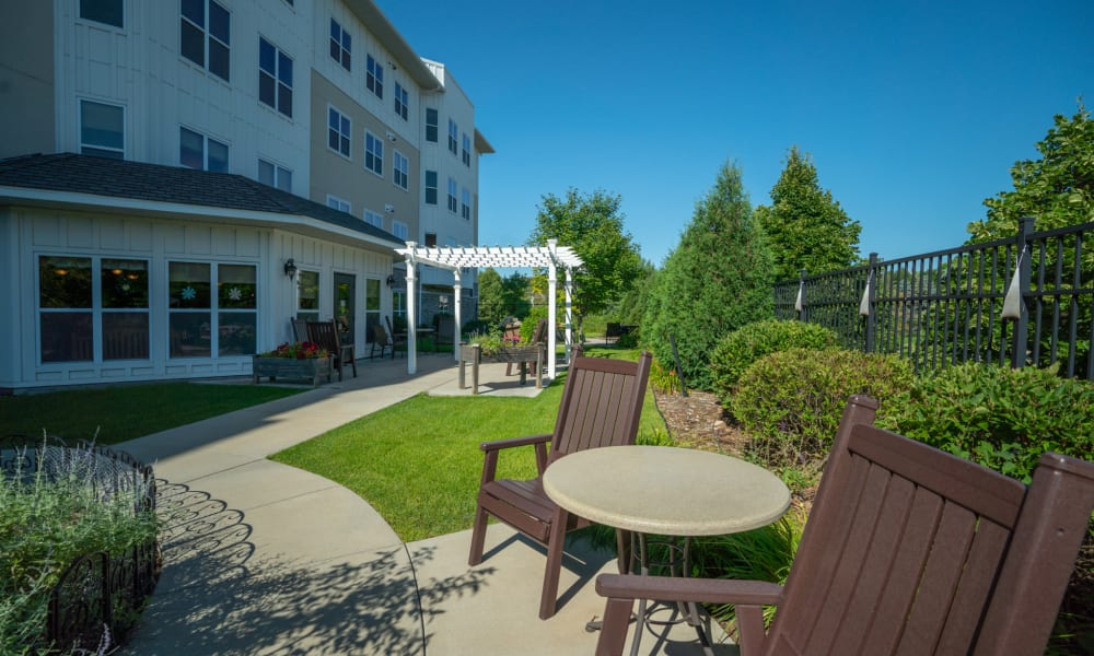 Outdoor patio with seating and tables at York Gardens in Edina, Minnesota