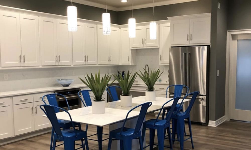Community kitchen at The View at Encino Commons in San Antonio, Texas