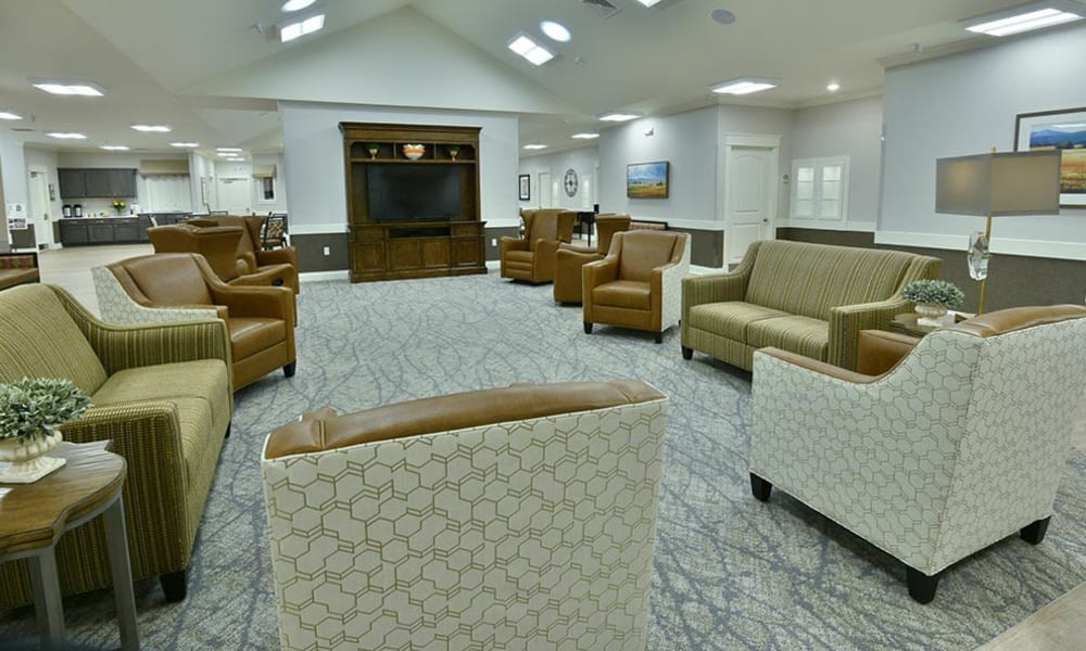 Family room and television lounge at Two Bedroom Independent Living Cottage at Field Pointe Assisted Living in Saint Joseph, Missouri