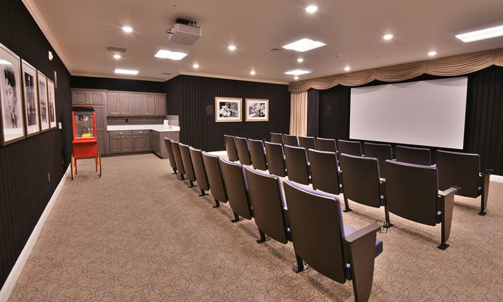 Our own movie theater at Field Pointe Assisted Living in Saint Joseph, Missouri