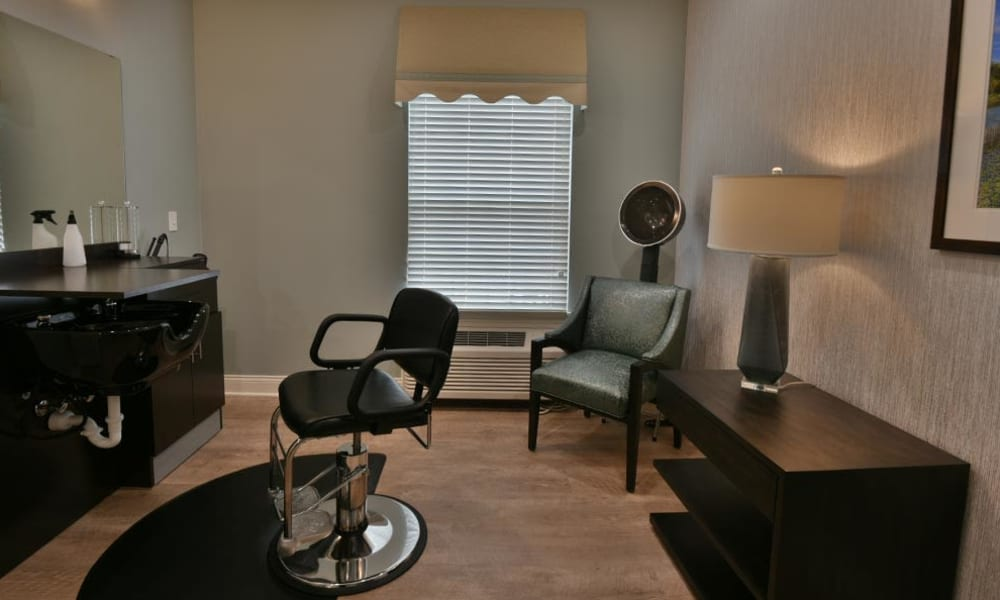 On site beauty and barber salon at Field Pointe Assisted Living in Saint Joseph, Missouri