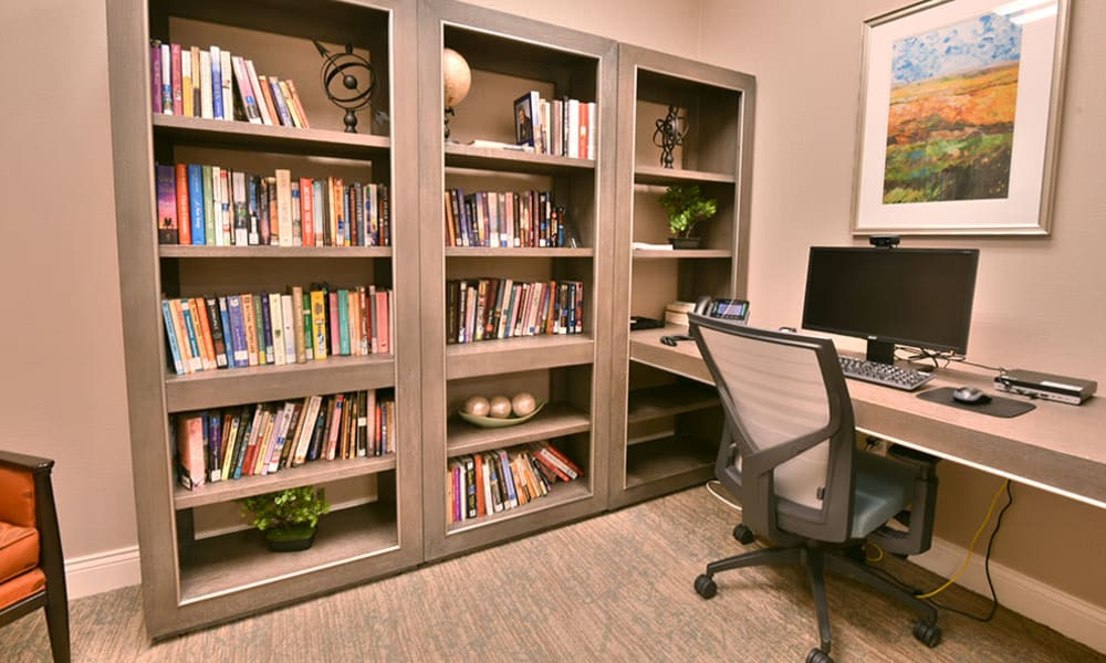 Resident Library at Dogwood Pointe Senior Living in Milan, Tennessee