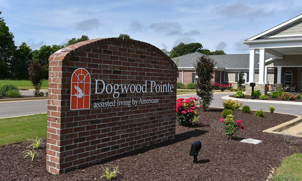 Monument Sign at Dogwood Pointe Senior Living in Milan, Tennessee