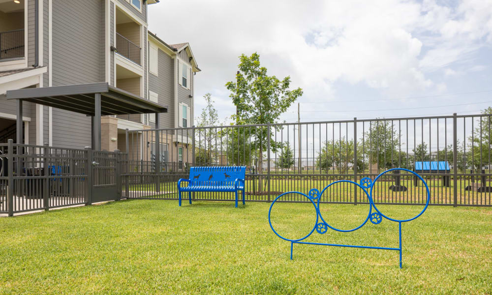 Dog park at Bellrock Market Station in Katy, Texas