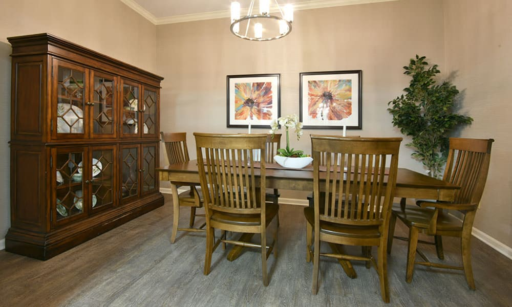 Private dining room for family and friends at Alexandria Place in Jackson, Tennessee