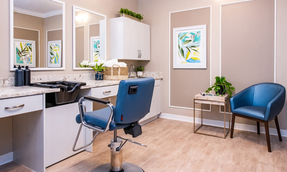 Beauty and Barber Shop at Seasons Memory Care at Rolling Hills in Torrance, California.