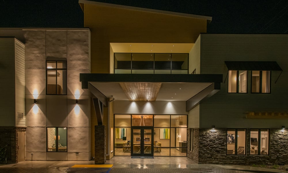 Front entryway at Seasons Memory Care at Rolling Hills in Torrance, California.