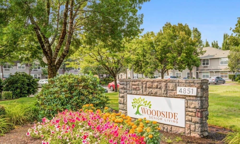 Location sign at Woodside Senior Living in Springfield, Oregon
