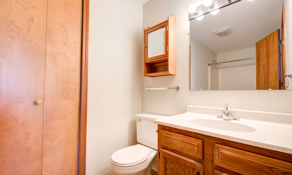 Bathroom with linen closet at Kimbrook Manor Apartments in Baldwinsville, New York