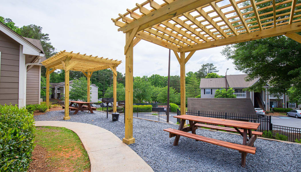 Covered picnic tables at Gregory Lane in Acworth, GA