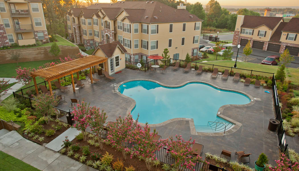 Aerial view of Tuscany Hills's gated community swimming pool in Tulsa, Oklahoma