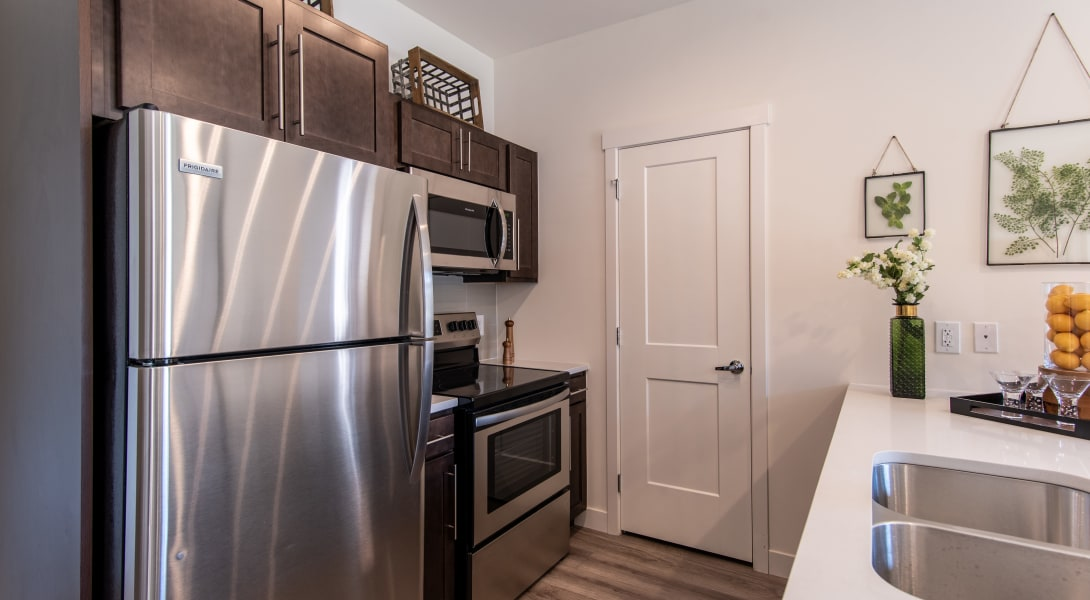 Stainless steel appliances at 6 West Apartments in Edwards, Colorado