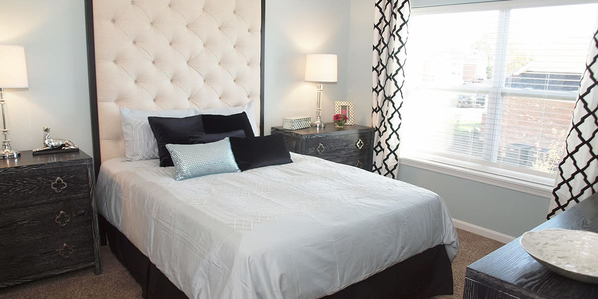 Contemporary bedroom with large windows at Greyson on 27 in Nicholasville, Kentucky