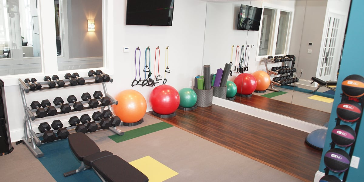 Resident fitness center featuring free weights and movement equipment at Greyson on 27 in Nicholasville, Kentucky