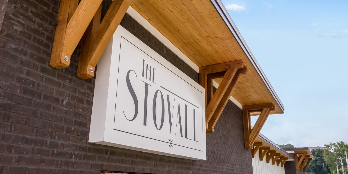 Apartment sign at The Stovall manged by Callio Properties