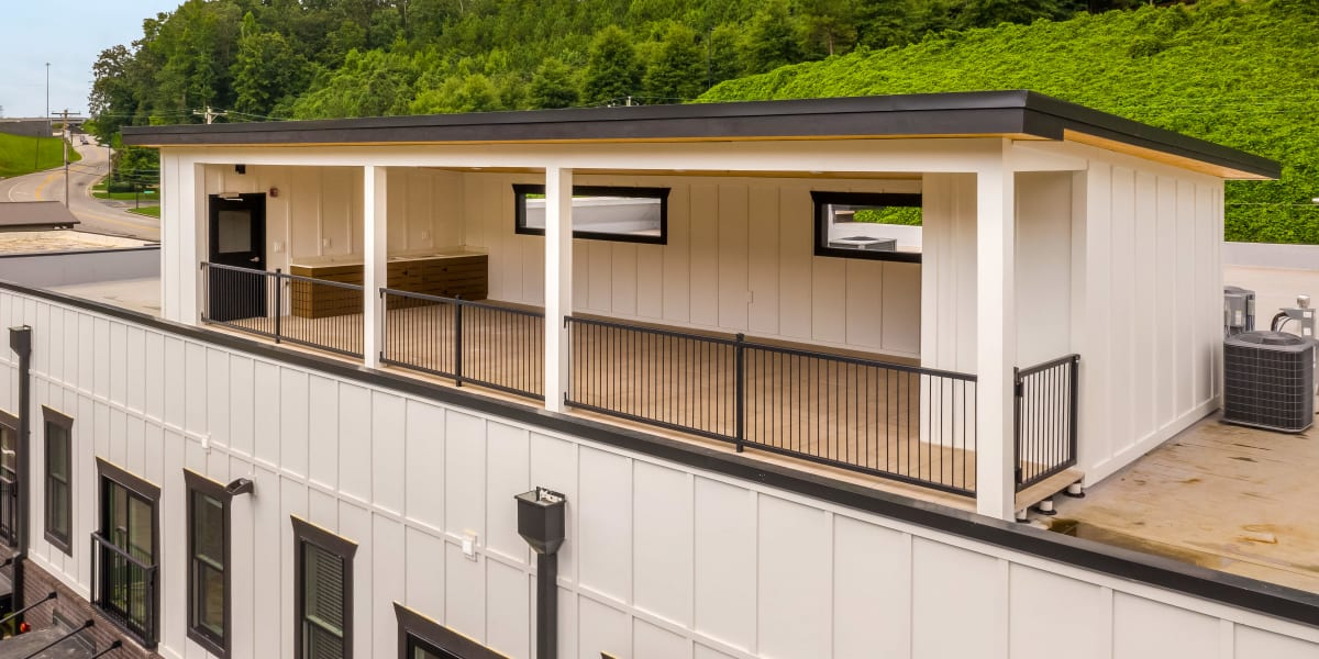 Rooftop covered hangout at The Stovall manged by Callio Properties