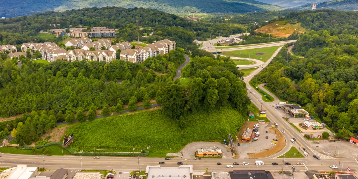Aerial view of the neighborhood at The Stovall manged by Callio Properties