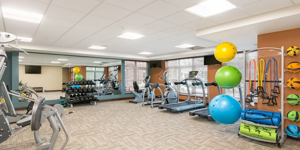 Fitness room at Applewood Pointe of Westminster in Westminster, Colorado