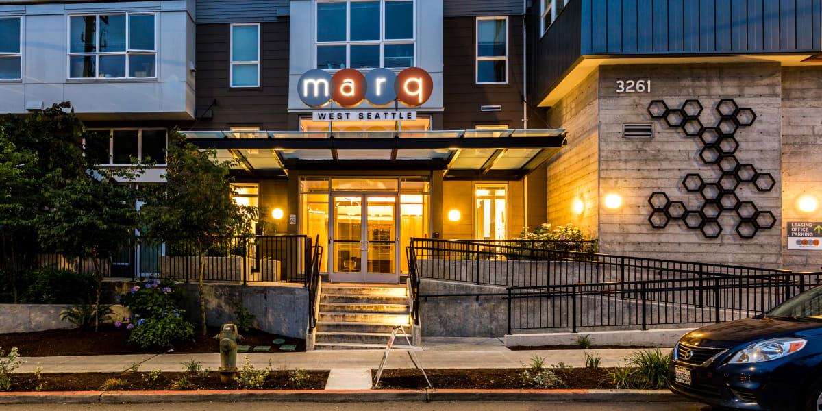 Street view of the entrance to Marq West Seattle in Seattle, Washington