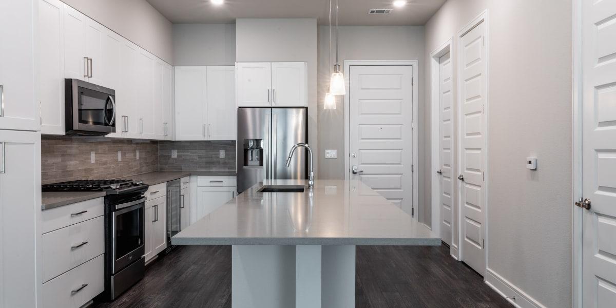 Clean kitchen at The Clark in Austin, Texas
