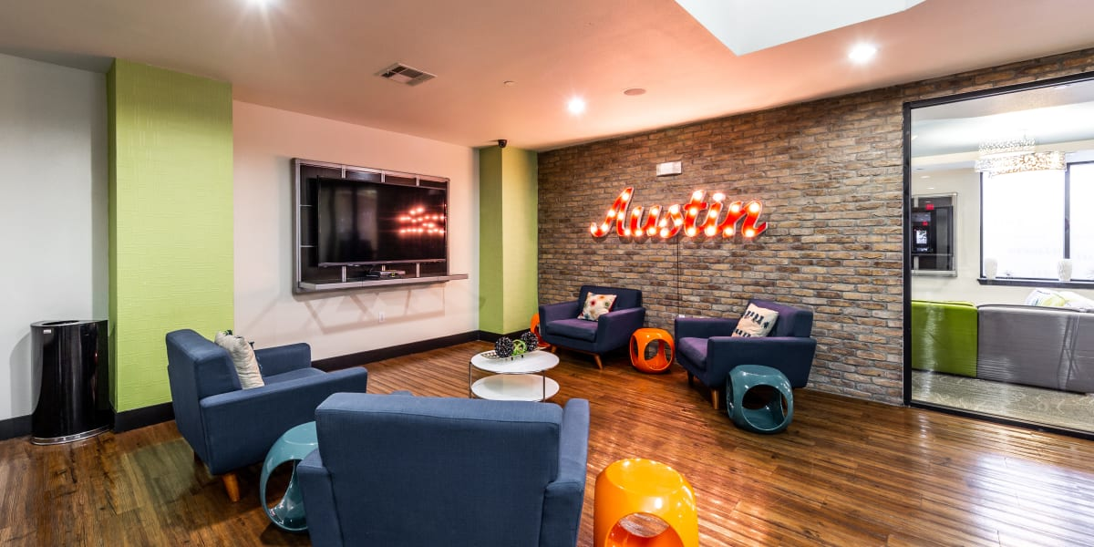Resident clubroom at Regents West at 24th in Austin, Texas