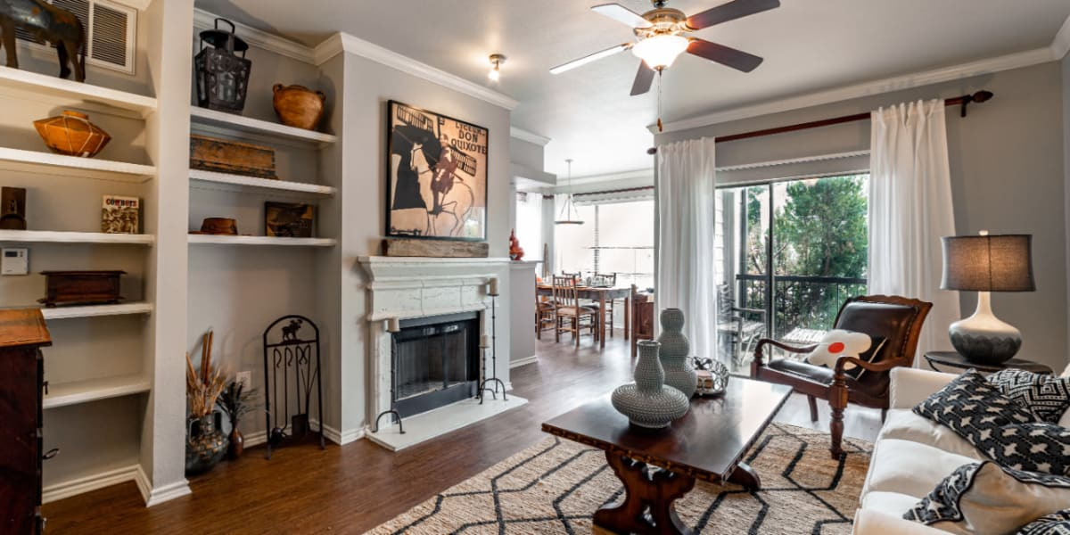 Living room at Marquis at Lantana in Flower Mound, Texas