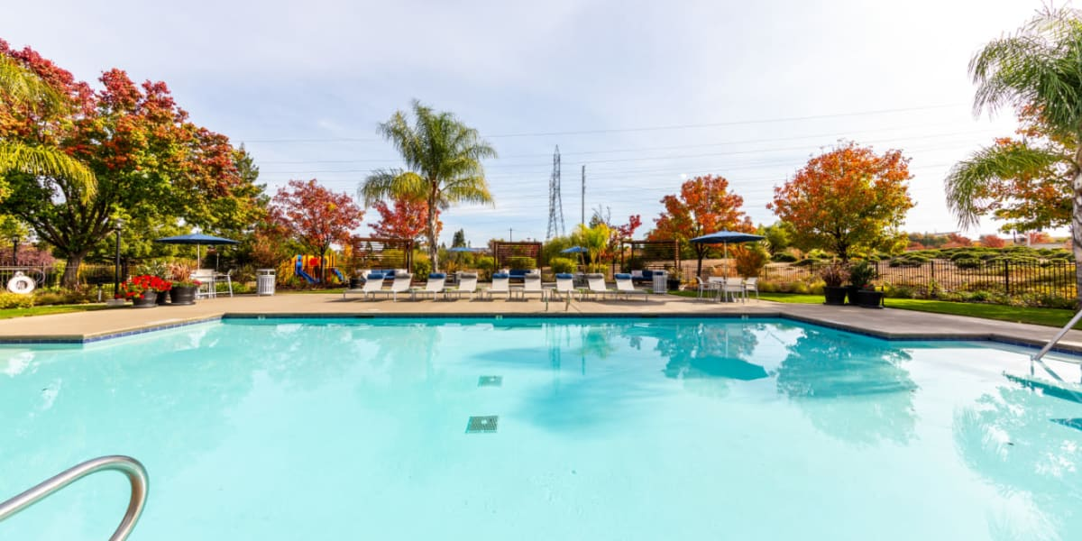 Outdoor poolside lounge area to The Fairmont at Willow Creek in Folsom, California