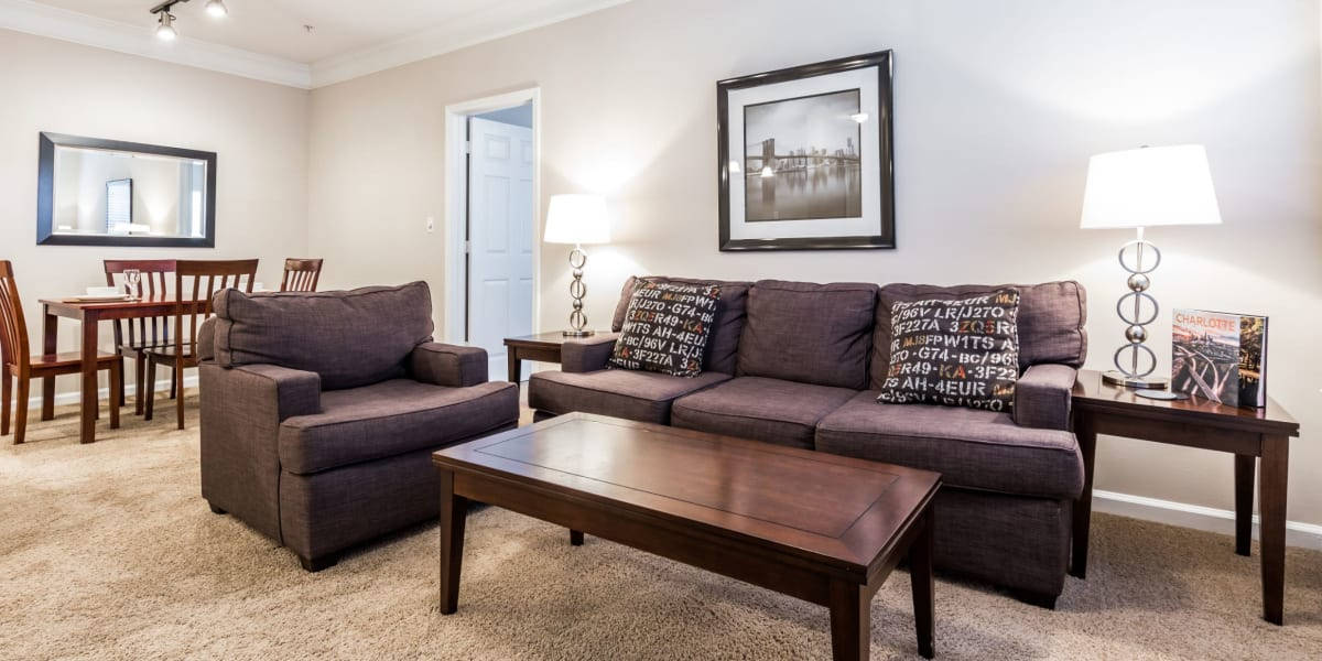 Living room at The Preserve at Ballantyne Commons in Charlotte, North Carolina