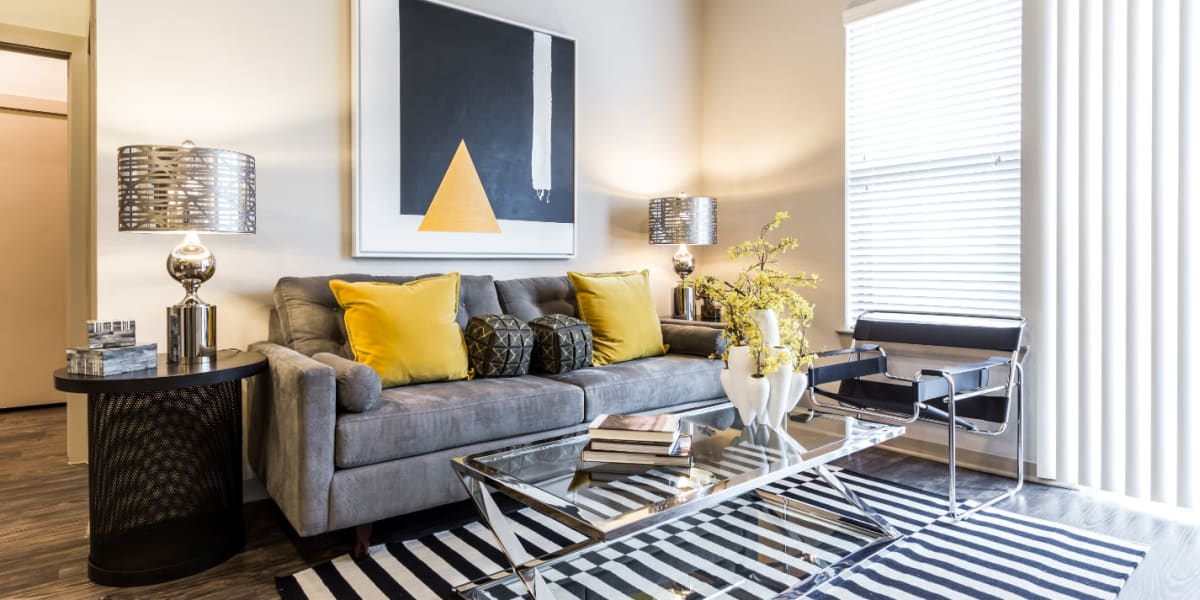 Living room at Marq Uptown in Austin, Texas