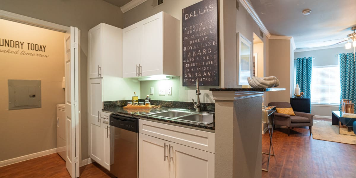 Modern kitchen with stainless steel appliances and granite countertops at Marquis at Texas Street in Dallas, Texas