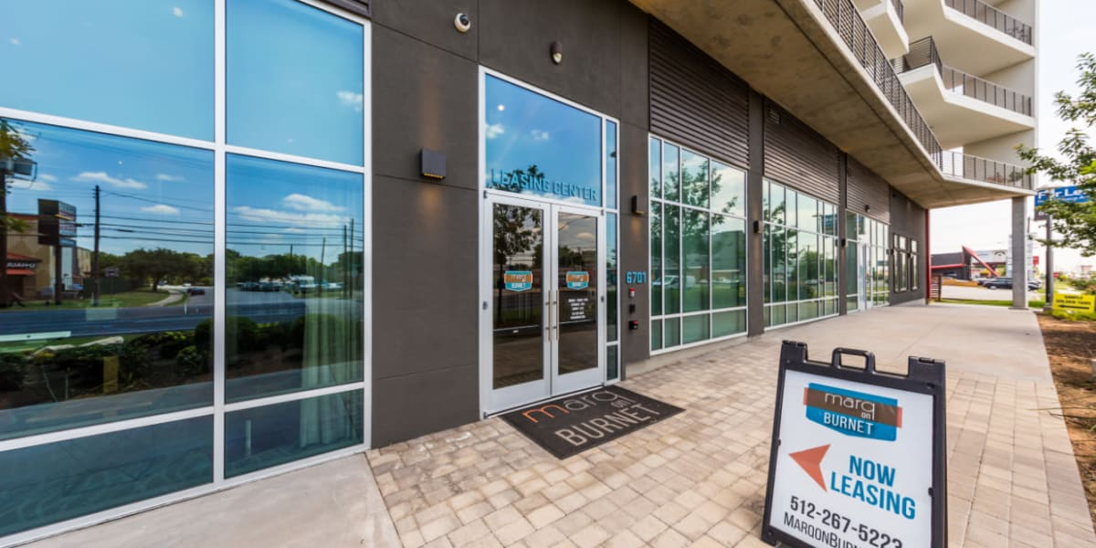 Leasing office entrance from outside to Marq on Burnet in Austin, Texas