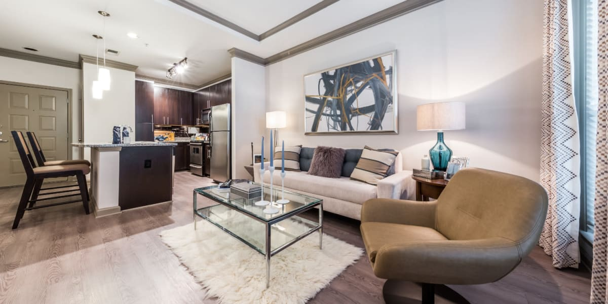 Living room at Marquis Midtown District in Atlanta, Georgia