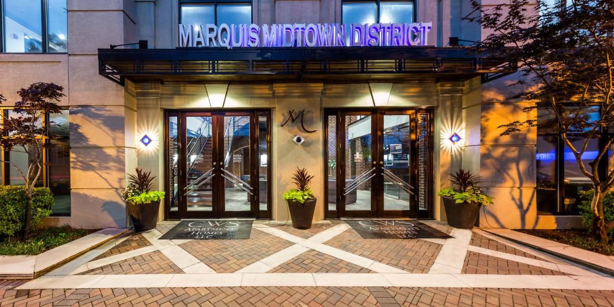 Sidewalk entrance into Marquis Midtown District in Atlanta, Georgia