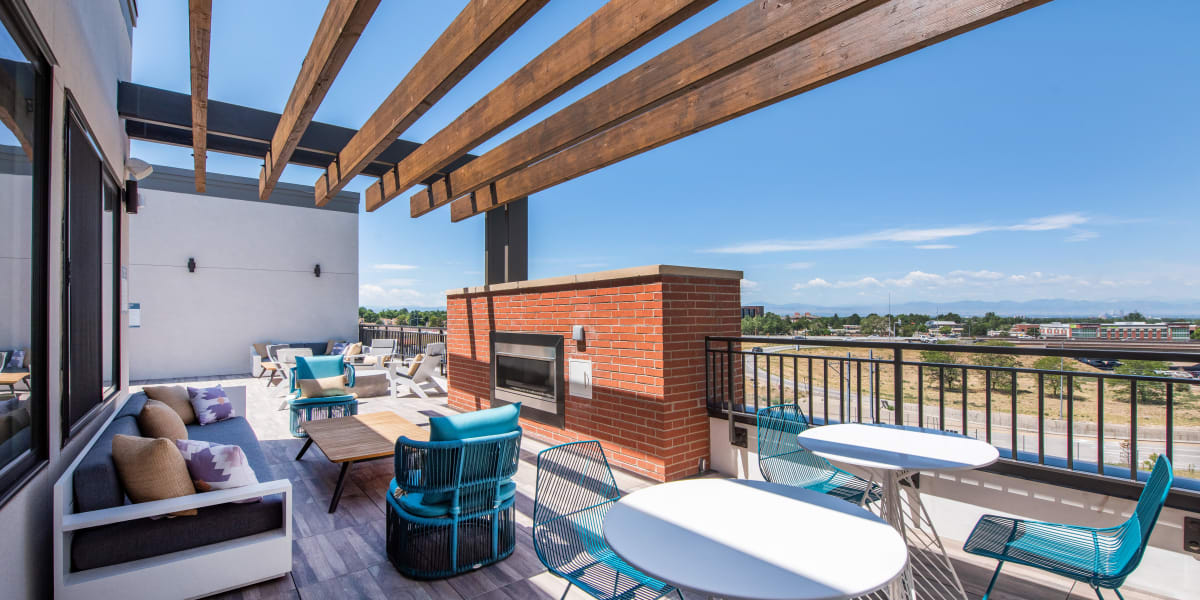 Rooftop lounge at Marq Iliff Station in Aurora, Colorado
