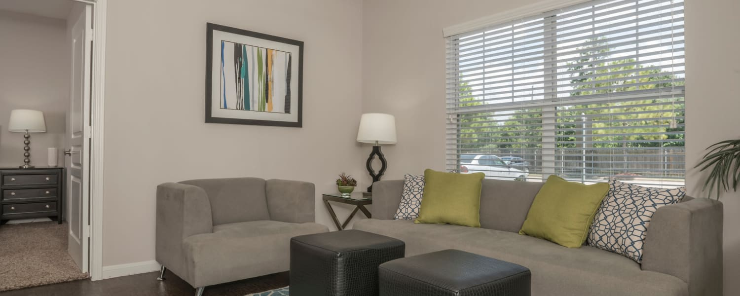 Living room at Cambria Cove Apartments in Houston, Texas