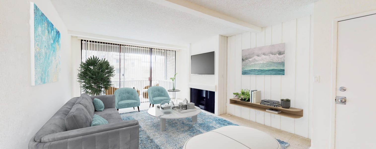 Well-furnished living area in a model luxury apartment at Mariners Village in Marina del Rey, California