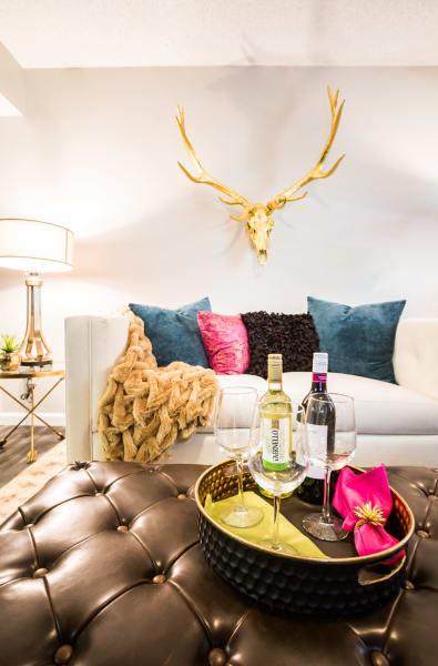 Living room with vibrant decorations at 4127 Arcadia in Phoenix, Arizona