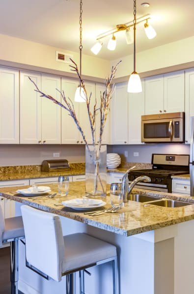 Kitchen island at Northgate Crossing in Wheeling, Illinois