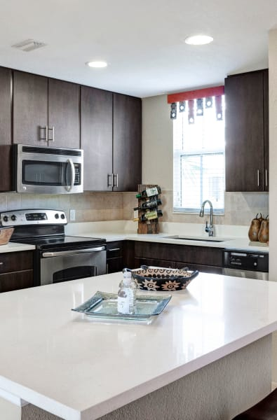 Kitchen island at City Center on 7th Apartment Homes in Pembroke Pines, Florida