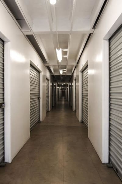 Storage units inside of Mira Mesa Self Storage in San Diego, California