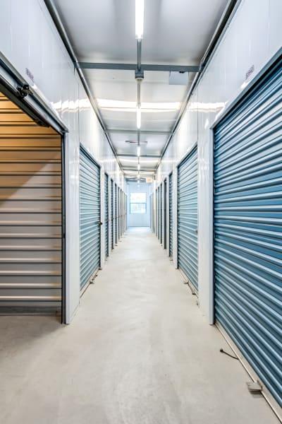 Storage units inside of Golden Triangle Self Storage in San Diego, California