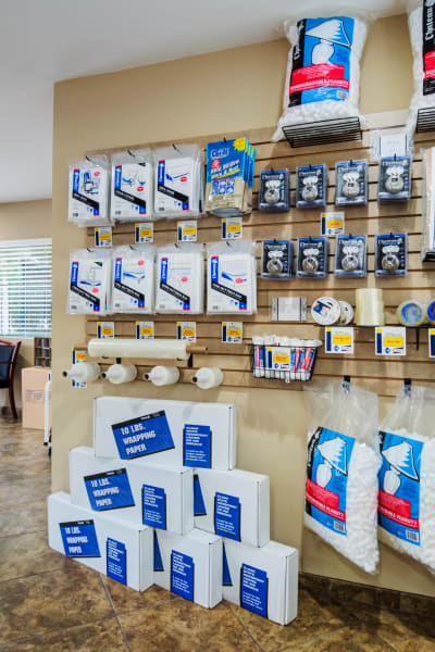 Packing and moving supplies available at Olivenhain Self Storage in Encinitas, California