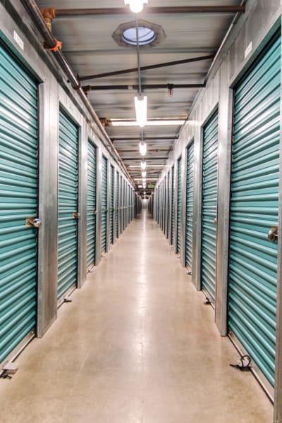 Storage units inside of Olivenhain Self Storage in Encinitas, California