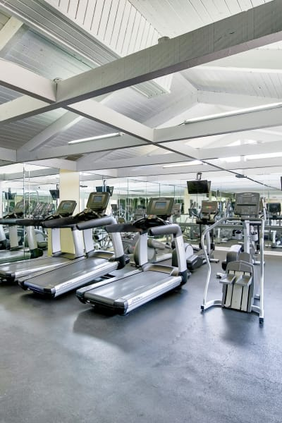 Well-equipped onsite fitness center at Mediterranean Village Apartments in Costa Mesa, California