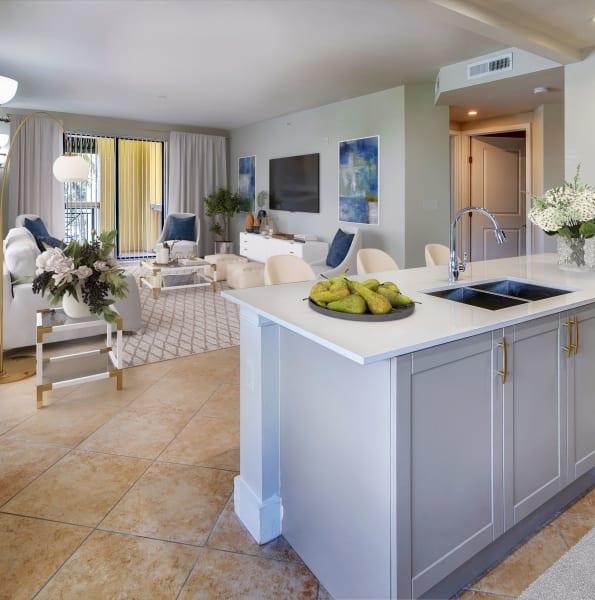 Kitchen island at The Heritage at Boca Raton in Boca Raton, Florida