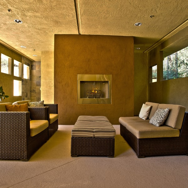 Faux fire place and ample seating at Fashion Terrace